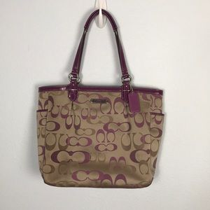 COACH Lg Signature Jacquard Leather Tote